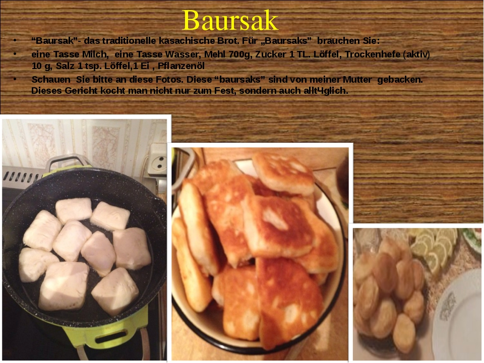 """Baursak """"Baursak""""- das traditionelle kasachische Brot. Für """"Baursaks"""" brauche..."""