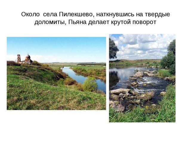 Около села Пилекшево, наткнувшись на твердые доломиты, Пьяна делает крутой по...