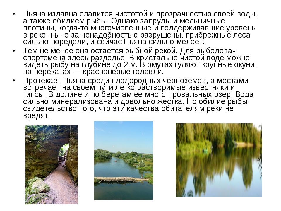 Пьяна издавна славится чистотой и прозрачностью своей воды, а также обилием р...