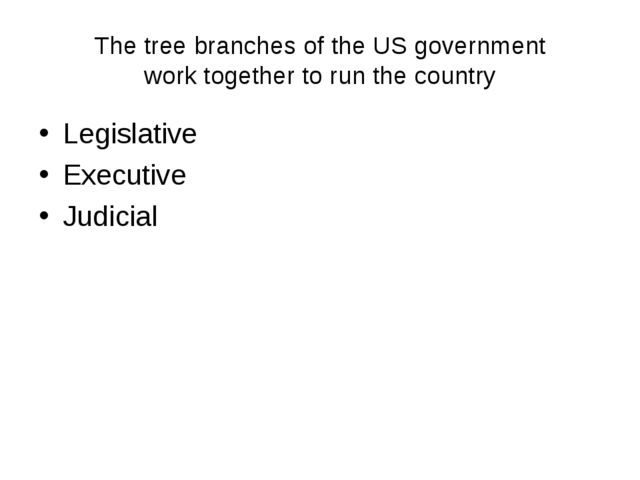 The tree branches of the US government work together to run the country Legis...