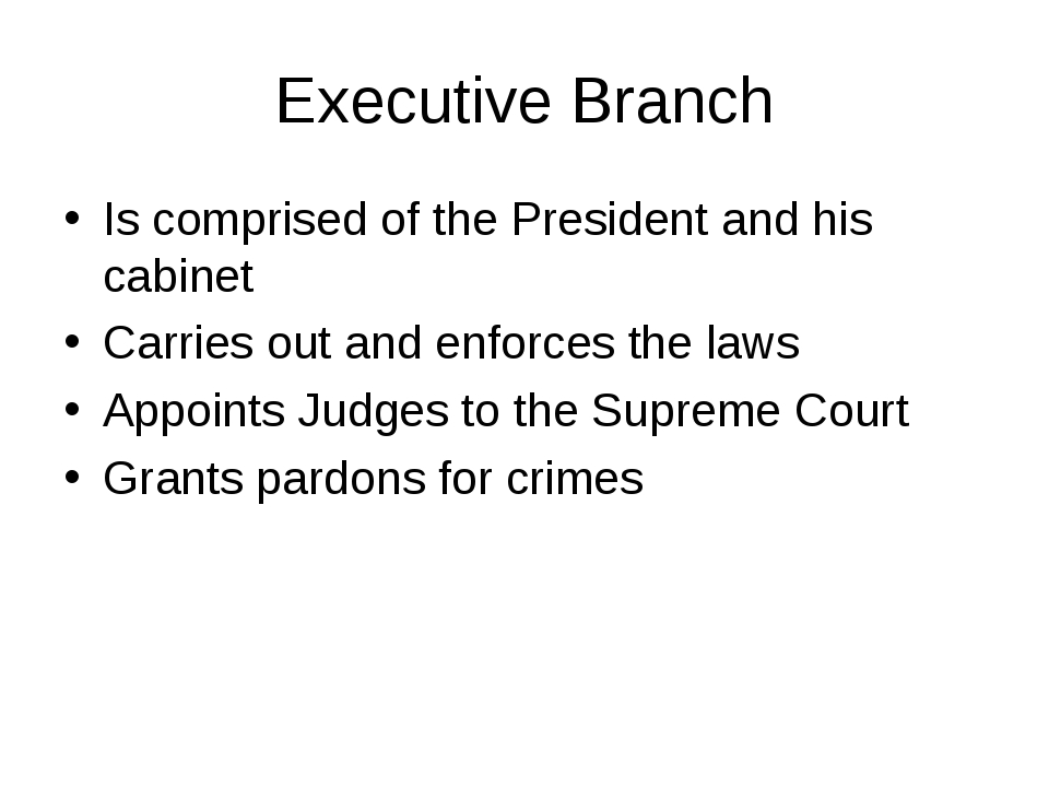 Executive Branch Is comprised of the President and his cabinet Carries out an...