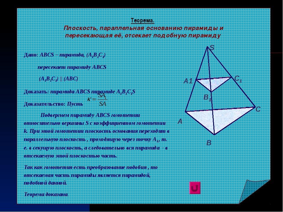 Теорема. Плоскость, параллельная основанию пирамиды и пересекающая её, отсека...