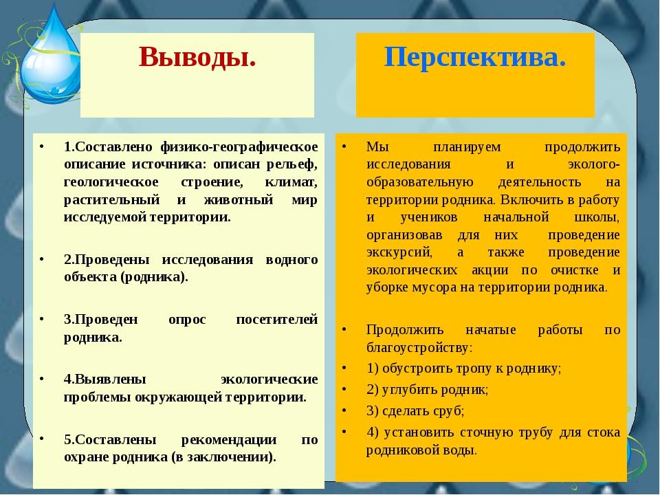 Выводы. 1.Составлено физико-географическое описание источника: описан рельеф,...