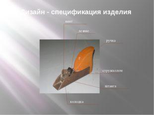 Дизайн - спецификация изделия ручка лезвие стружколом винт штанга колодка