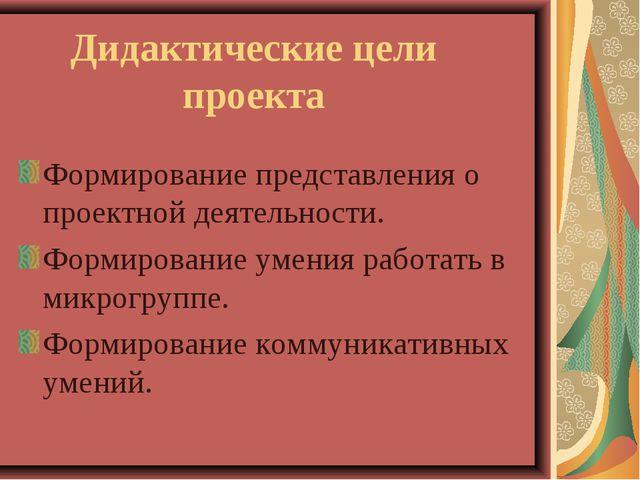 Дидактические цели проекта Формирование представления о проектной деятельност...