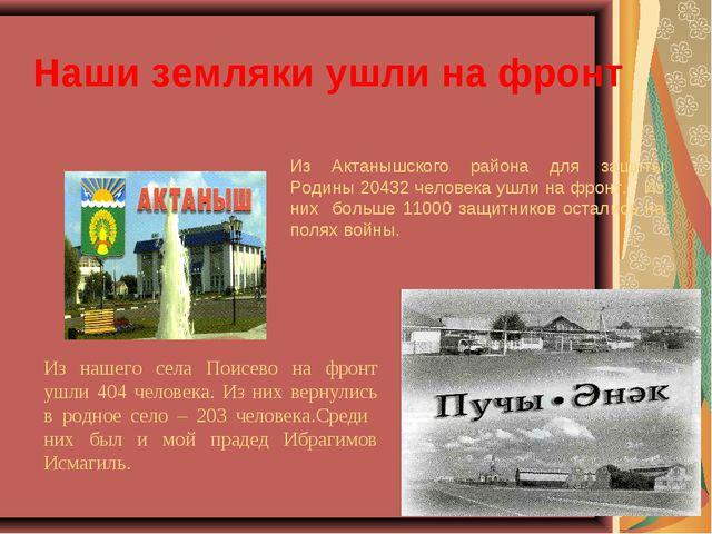Наши земляки ушли на фронт Из Актанышского района для защиты Родины 20432 чел...