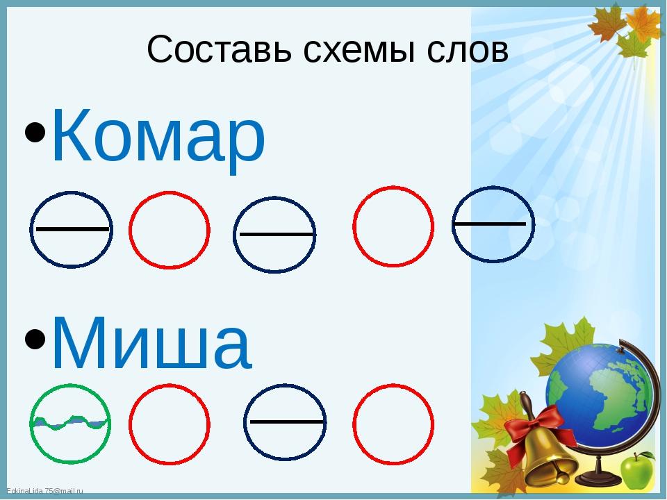 Составь схемы слов Комар Миша FokinaLida.75@mail.ru