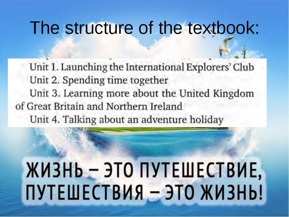 The structure of the textbook: