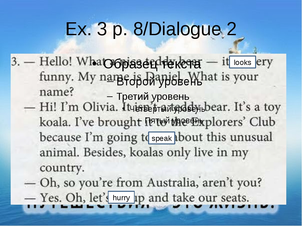 Ex. 3 p. 8/Dialogue 2 Nice been Europe was looks speak hurry