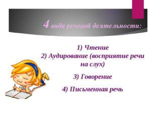 4 вида речевой деятельности: 1) Чтение 2) Аудирование (восприятие речи на слу