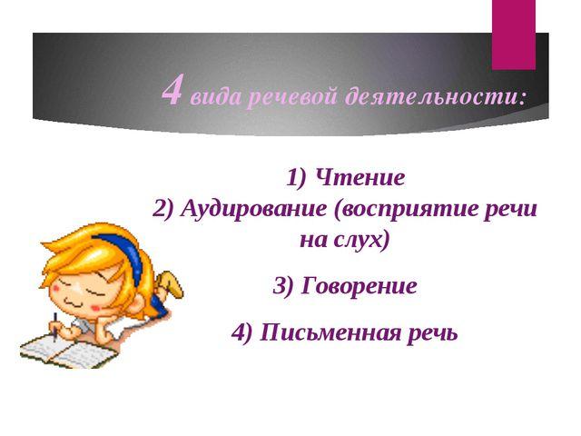 4 вида речевой деятельности: 1) Чтение 2) Аудирование (восприятие речи на слу...