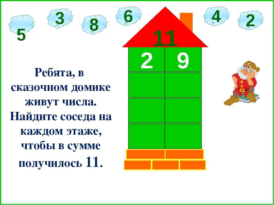 2 9 11 5 3 6 2 8 4 Ребята, в сказочном домике живут числа. Найдите соседа на...
