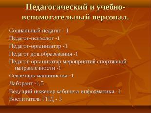 Педагогический и учебно-вспомогательный персонал. Социальный педагог - 1 Педа