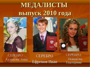 МЕДАЛИСТЫ выпуск 2010 года СЕРЕБРО Ефремов Иван СЕРЕБРО Новикова Екатерина СЕ