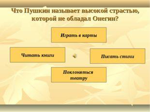 Что Пушкин называет высокой страстью, которой не обладал Онегин? Писать стихи
