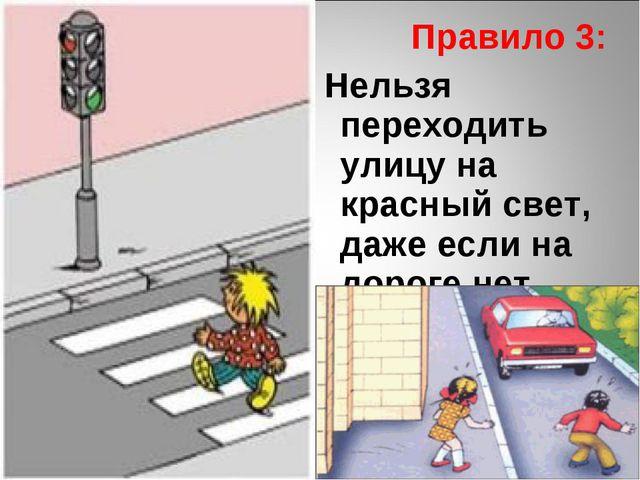 Правило 3: Нельзя переходить улицу на красный свет, даже если на дороге нет...