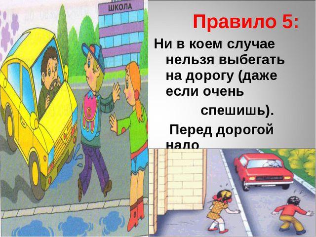 Правило 5: Ни в коем случае нельзя выбегать на дорогу (даже если очень спеши...