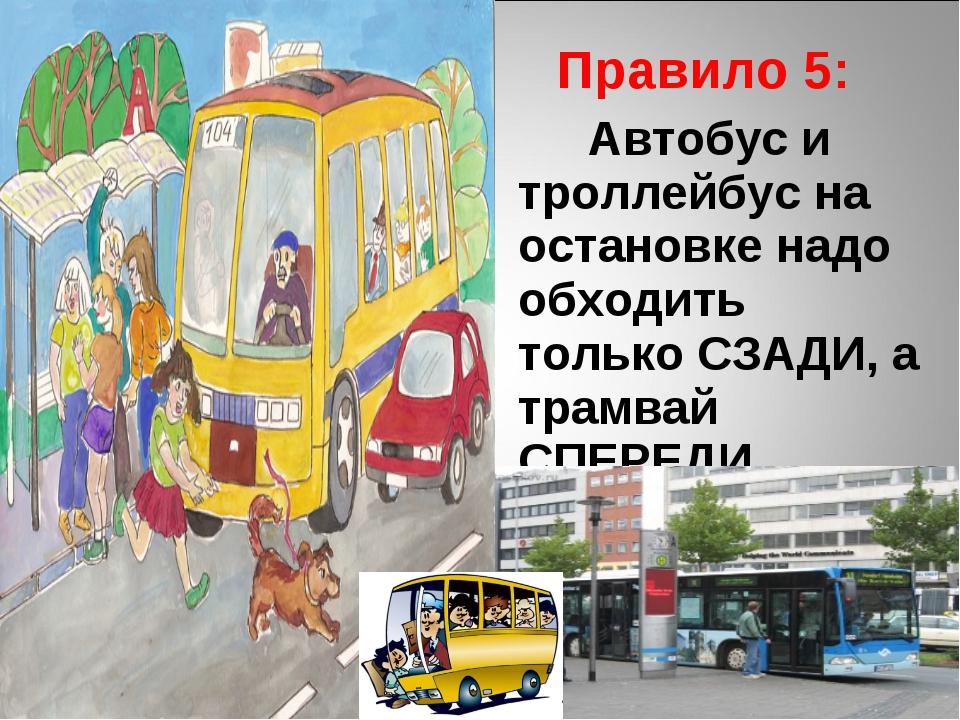 Правило 5: Автобус и троллейбус на остановке надо обходить только СЗАДИ, а т...