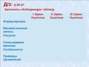 Д/з: § 20-27 Заполнить обобщающую таблицу IЗакон Ньютона IIЗакон Ньютона IIIЗ