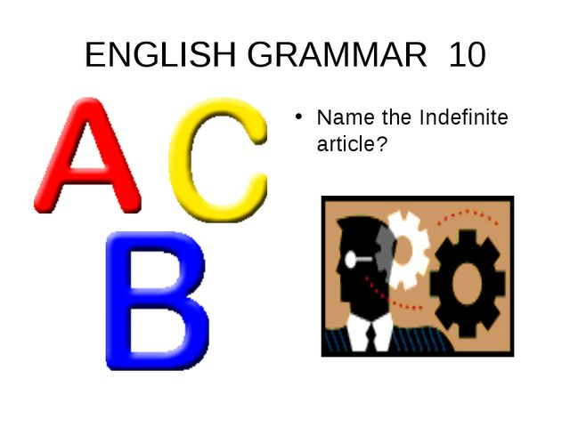 ENGLISH GRAMMAR 10 Name the Indefinite article?