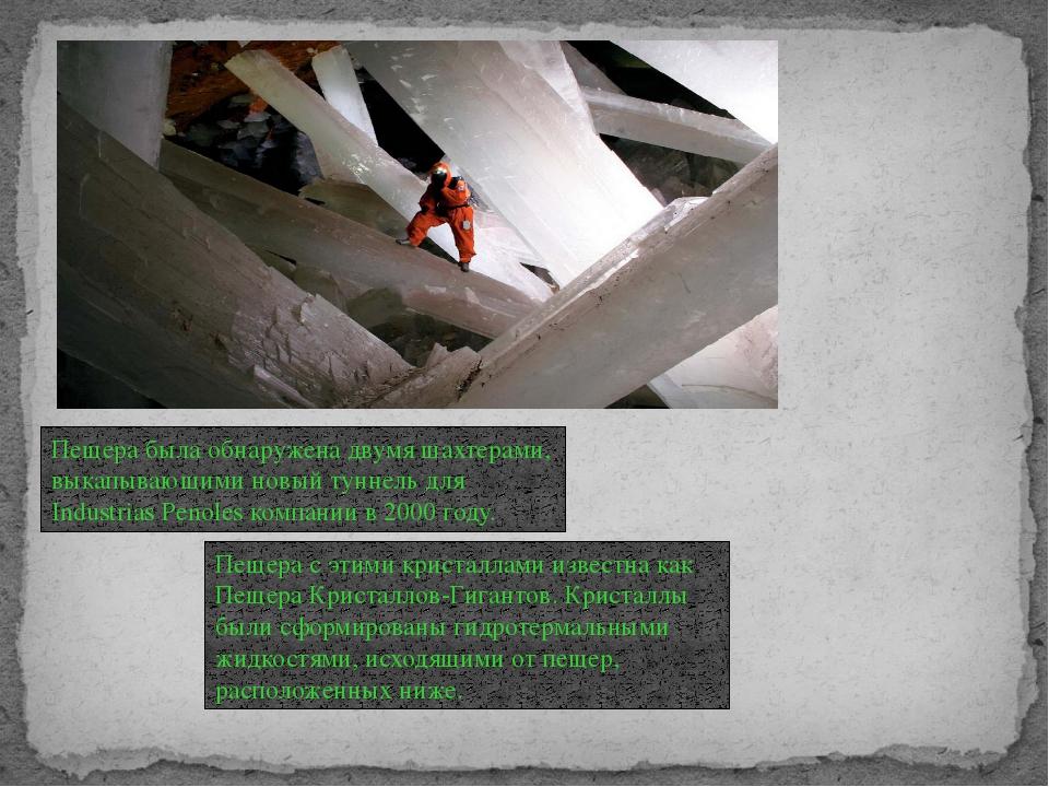 Пещера была обнаружена двумя шахтерами, выкапывающими новый туннель для Indus...