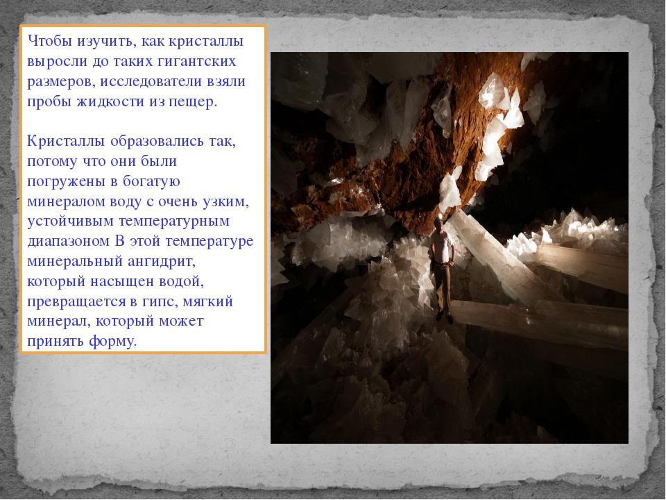 Чтобы изучить, как кристаллы выросли до таких гигантских размеров, исследоват...