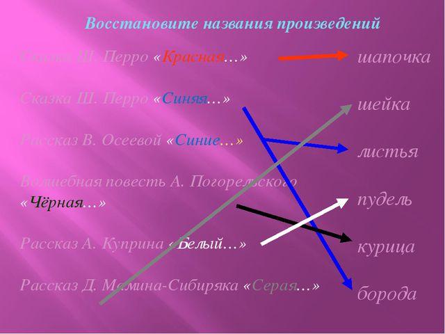 Восстановите названия произведений Сказка Ш. Перро «Красная…» Сказка Ш. Перро...
