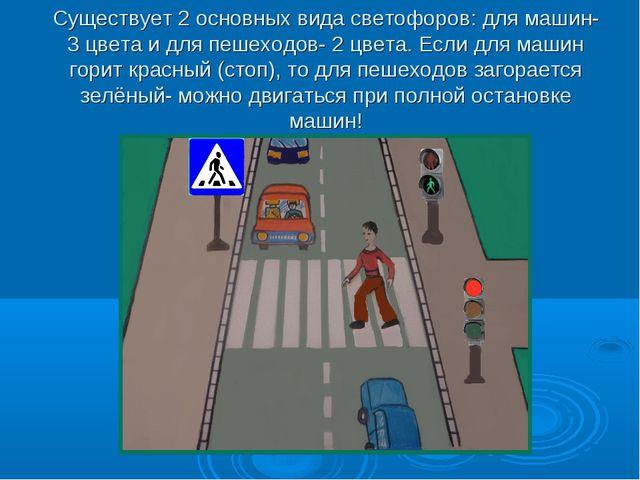 Существует 2 основных вида светофоров: для машин- 3 цвета и для пешеходов- 2...