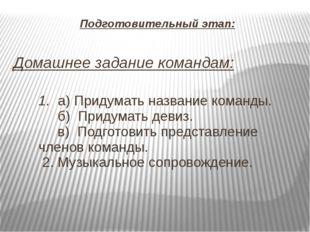 Подготовительный этап: Домашнее задание командам: 1. а) Придумать название ко