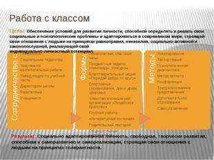 Работа с классом Цель: Обеспечение условий для развития личности, способной о
