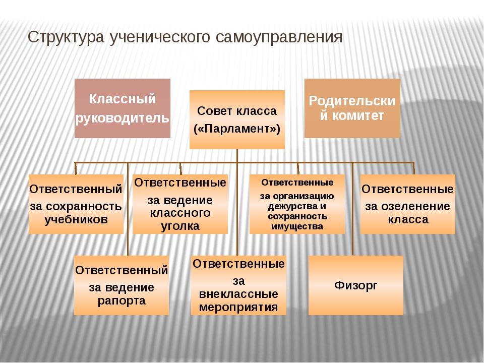 Структура ученического самоуправления Классный руководитель Совет класса («Па...