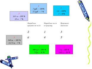 1 ? руб. – 100% 21 руб. – 7 % 2 5,4 – 100% ? – 30% 5 368 т. – 100 % 14,72 т.