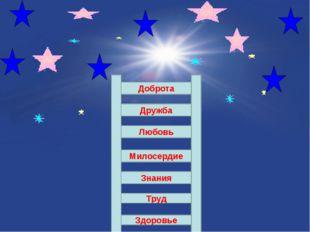 Здоровье Труд Знания Милосердие Любовь Дружба Доброта
