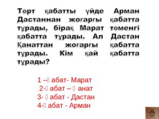 1 –қабат- Марат 2-қабат – Қанат 3- қабат - Дастан 4-қабат - Арман