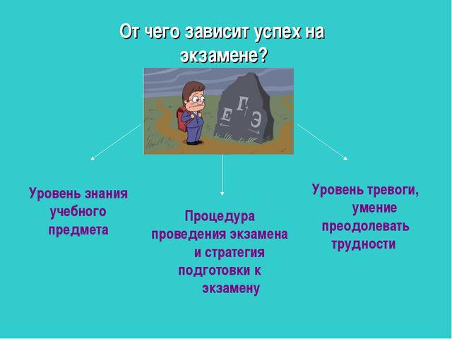 Уровень знания учебного предмета Процедура проведения экзамена и стратегия по...