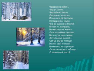 Чародейкою зимою... Федор Тютчев Чародейкою Зимою Околдован, лес стоит - И по