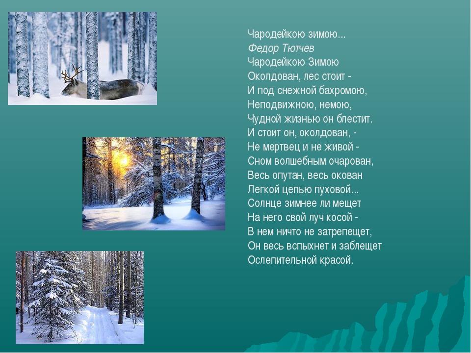 Чародейкою зимою... Федор Тютчев Чародейкою Зимою Околдован, лес стоит - И по...