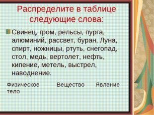 Распределите в таблице следующие слова: Свинец, гром, рельсы, пурга, алюминий