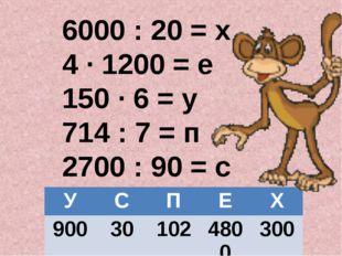 6000 : 20 = х 4 ∙ 1200 = е 150 ∙ 6 = у 714 : 7 = п 2700 : 90 = с 900 30 102 4