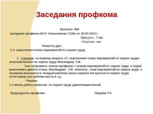 Заседания профкома Протокол №6 заседания профкома МОУ «Гикаловская СОШ» от 2