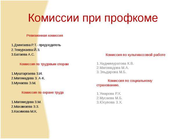 Комиссии при профкоме Ревизионная комиссия  1.Дзингаева Р.Т.- председатель 2...