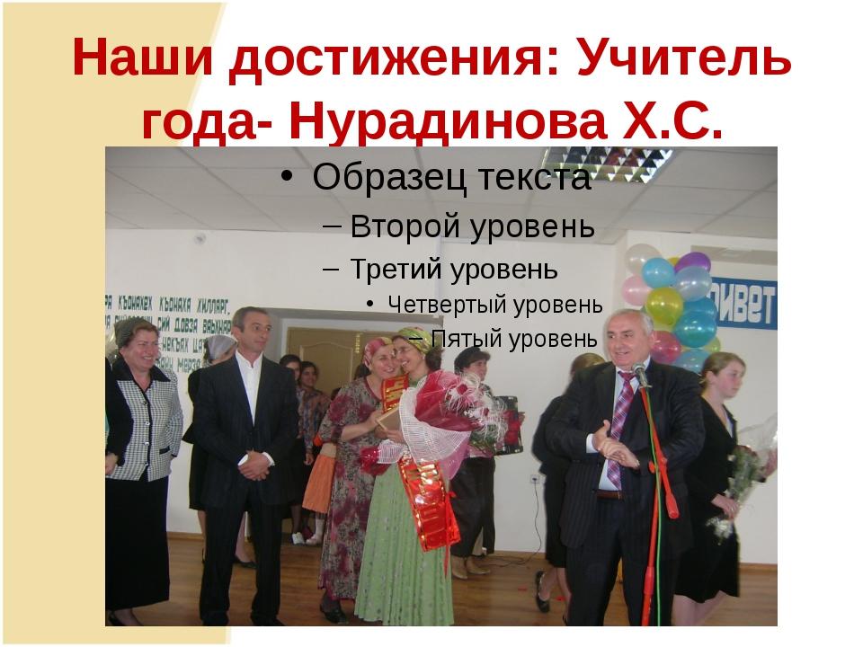 Наши достижения: Учитель года- Нурадинова Х.С.