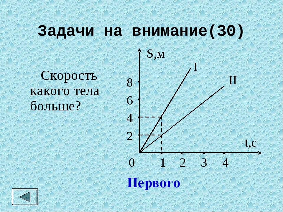 Задачи на внимание(30)  Скорость какого тела больше? Первого 0 2 4 6 8 S,м 1...