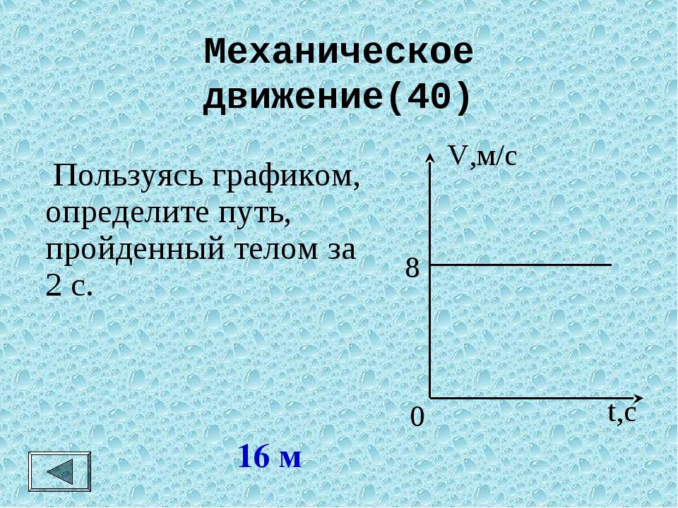 Механическое движение(40) 16 м  Пользуясь графиком, определите путь, пройден...