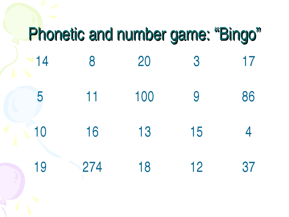 """Phonetic and number game: """"Bingo"""""""