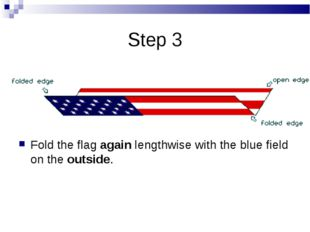 Step 3 Fold the flag again lengthwise with the blue field on the outside.