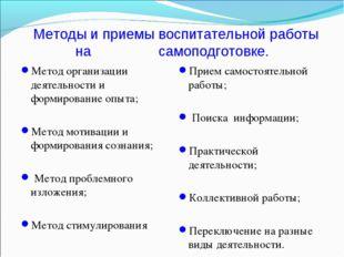Методы и приемы воспитательной работы на самоподготовке. Метод организации д