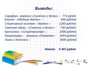 Выводы: Сарафан– магазин «Сыночки и дочки» - 774 рубля Блузка– «Модные детки»