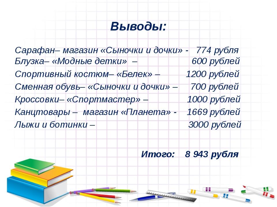 Выводы: Сарафан– магазин «Сыночки и дочки» - 774 рубля Блузка– «Модные детки»...