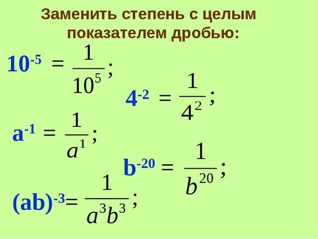 Заменить степень с целым показателем дробью: 10-5 = 4-2 = а-1 = b-20 = (аb)-3=